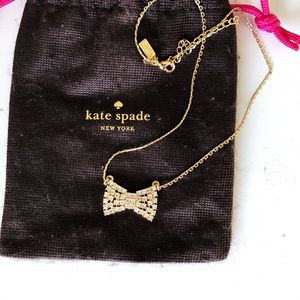 Kate Spade Sparkling Bow Necklace in Gold